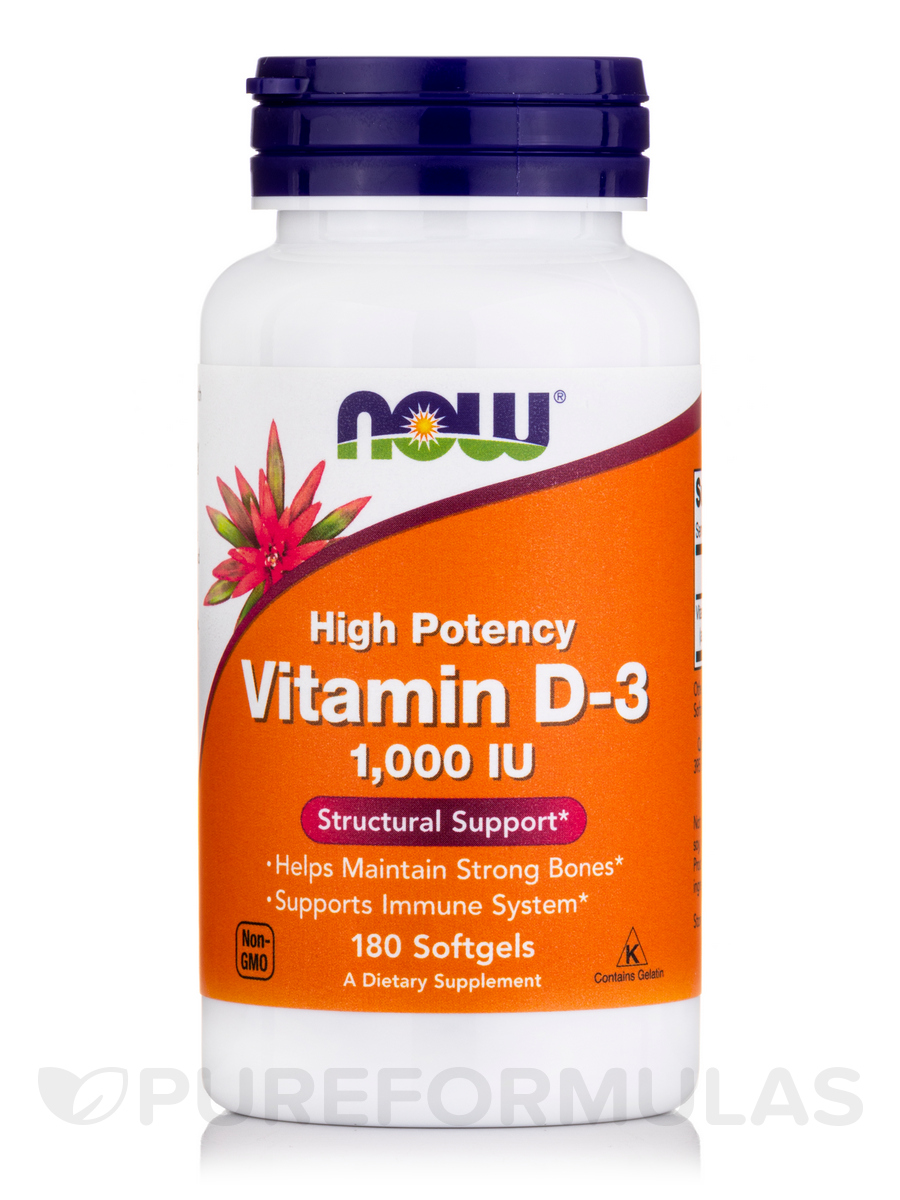 Vitamin D-3 1000 IU (High Potency) - 180 Softgels