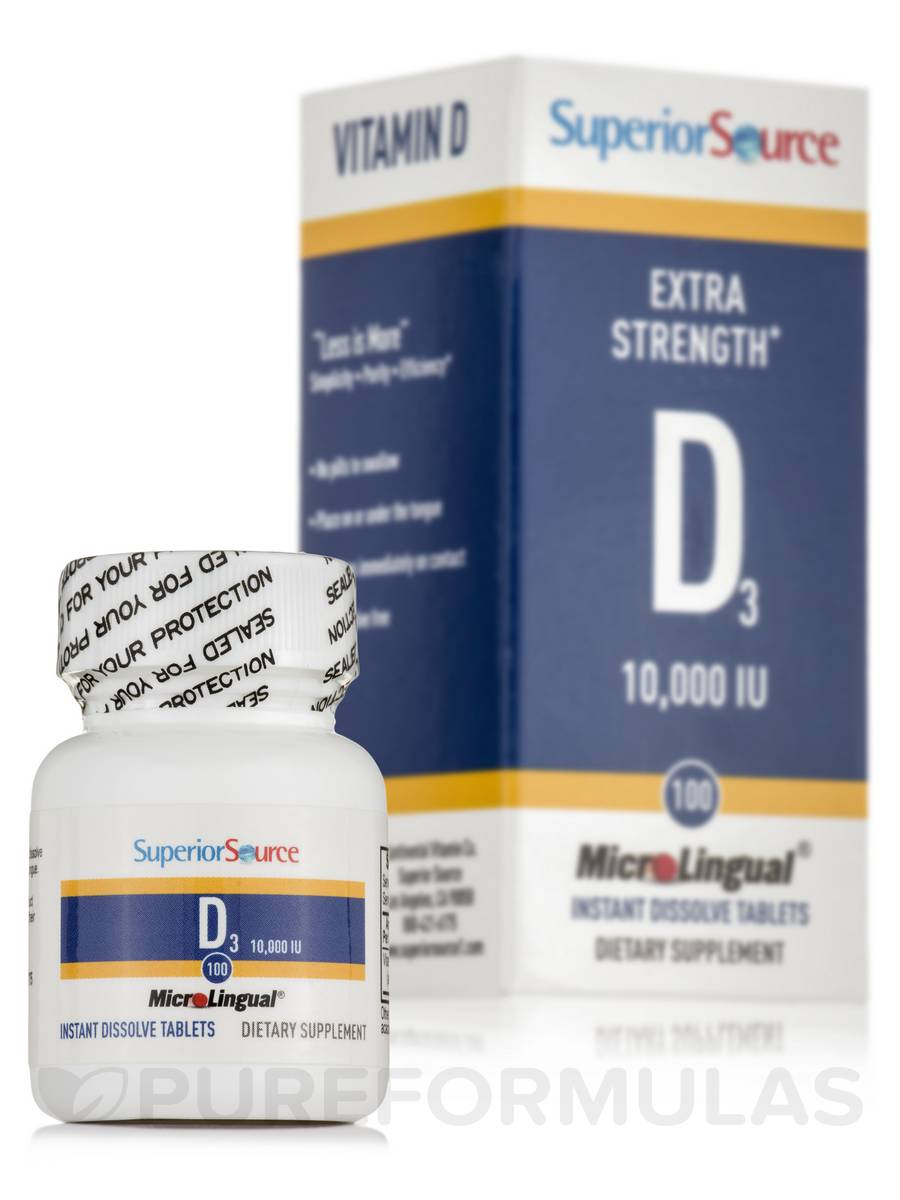 Vitamin D3 10000 IU - Extra Strength - 100 Dissolvable Tablets