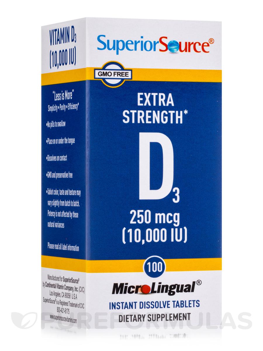 Vitamin D3 10000 IU - Extra Strength - 100 MicroLingual® Tablets