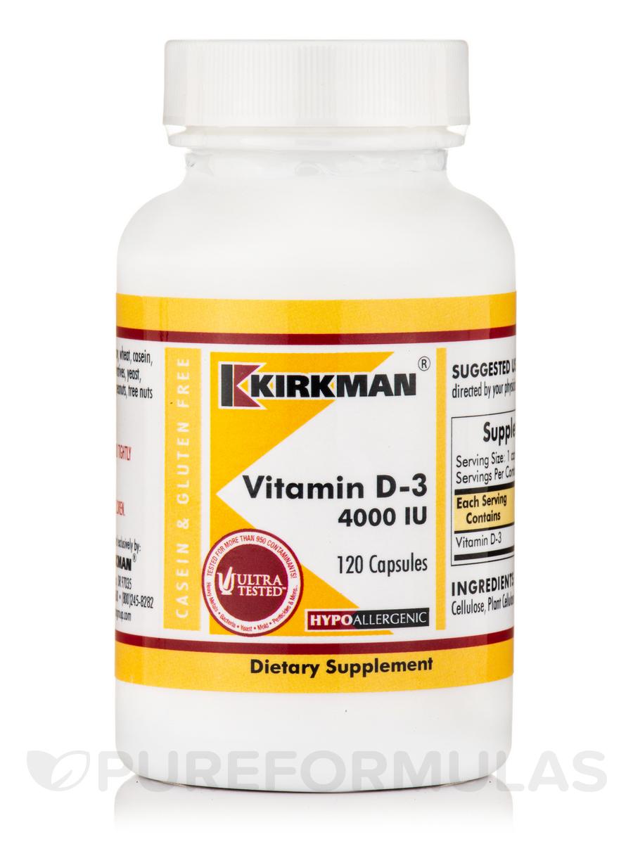 Vitamin D-3 4000 IU -Hypoallergenic - 120 Capsules