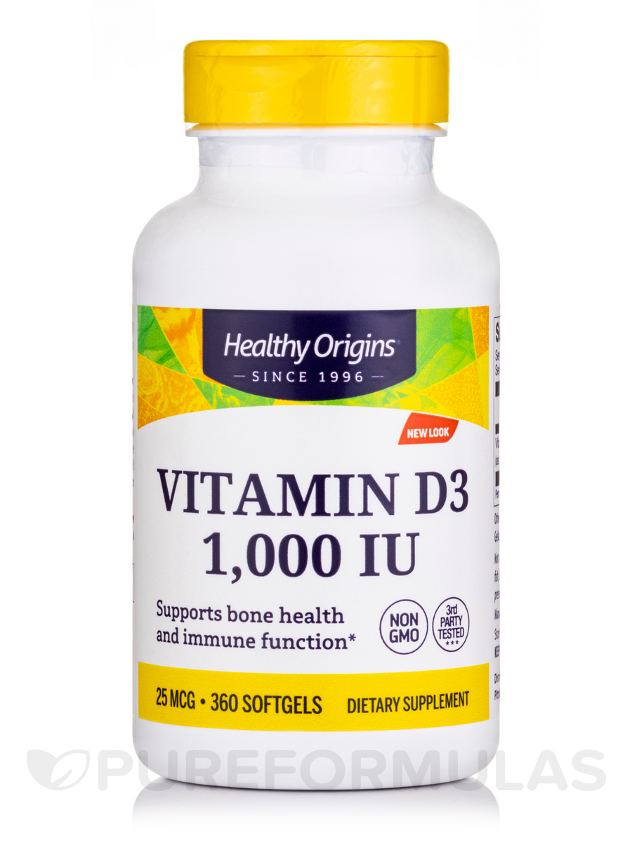 Vitamin D3 1000 IU (Lanolin) - 360 Softgels