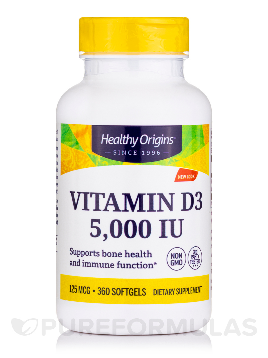 Vitamin D3 5000 IU (Lanolin) - 360 Softgels