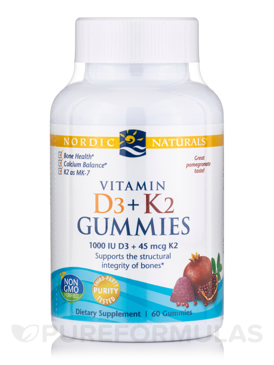 Vitamin D3 + K2 Gummies, Pomegranate Flavor - 60 Gummies
