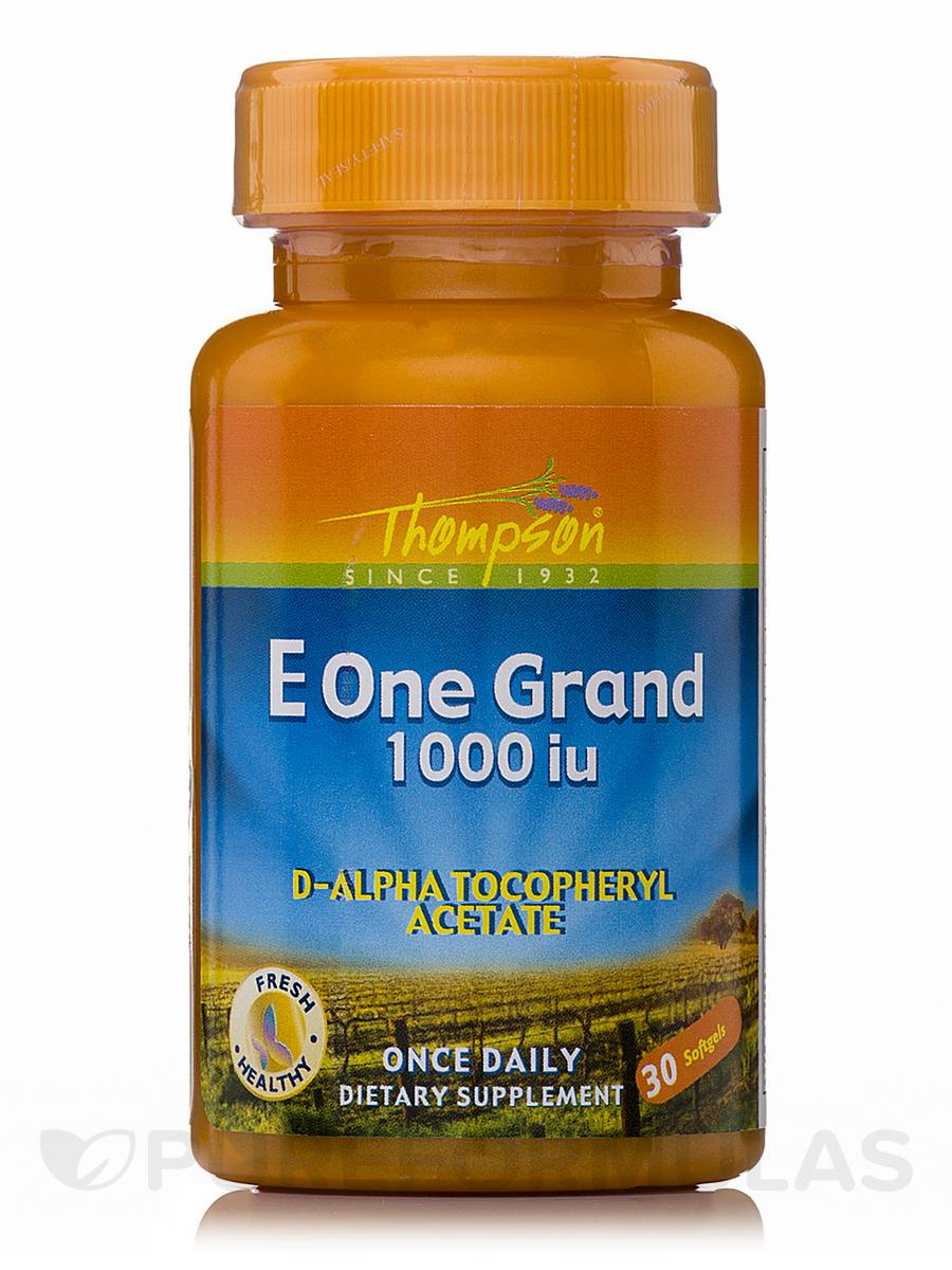 Vitamin E One Grand 1000 IU (D-Alpha Tocopheryl Acetate) - 30 Tablets