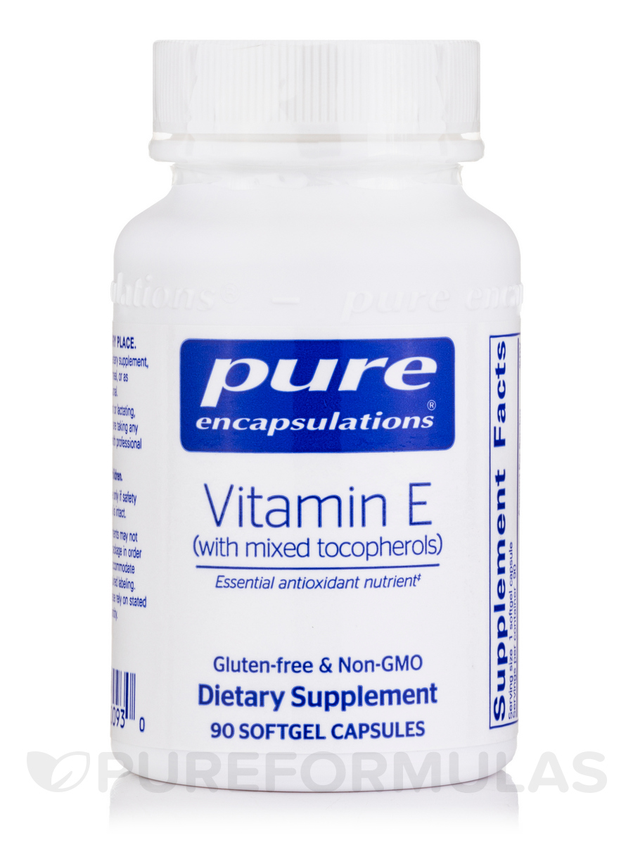 Natural Vitamin E (with mixed tocopherols) - 90 Softgel Capsules