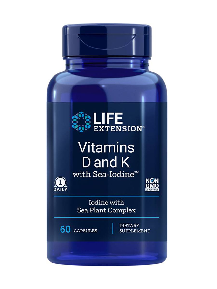 Vitamins D and K with Sea-Iodine - 60 Capsules