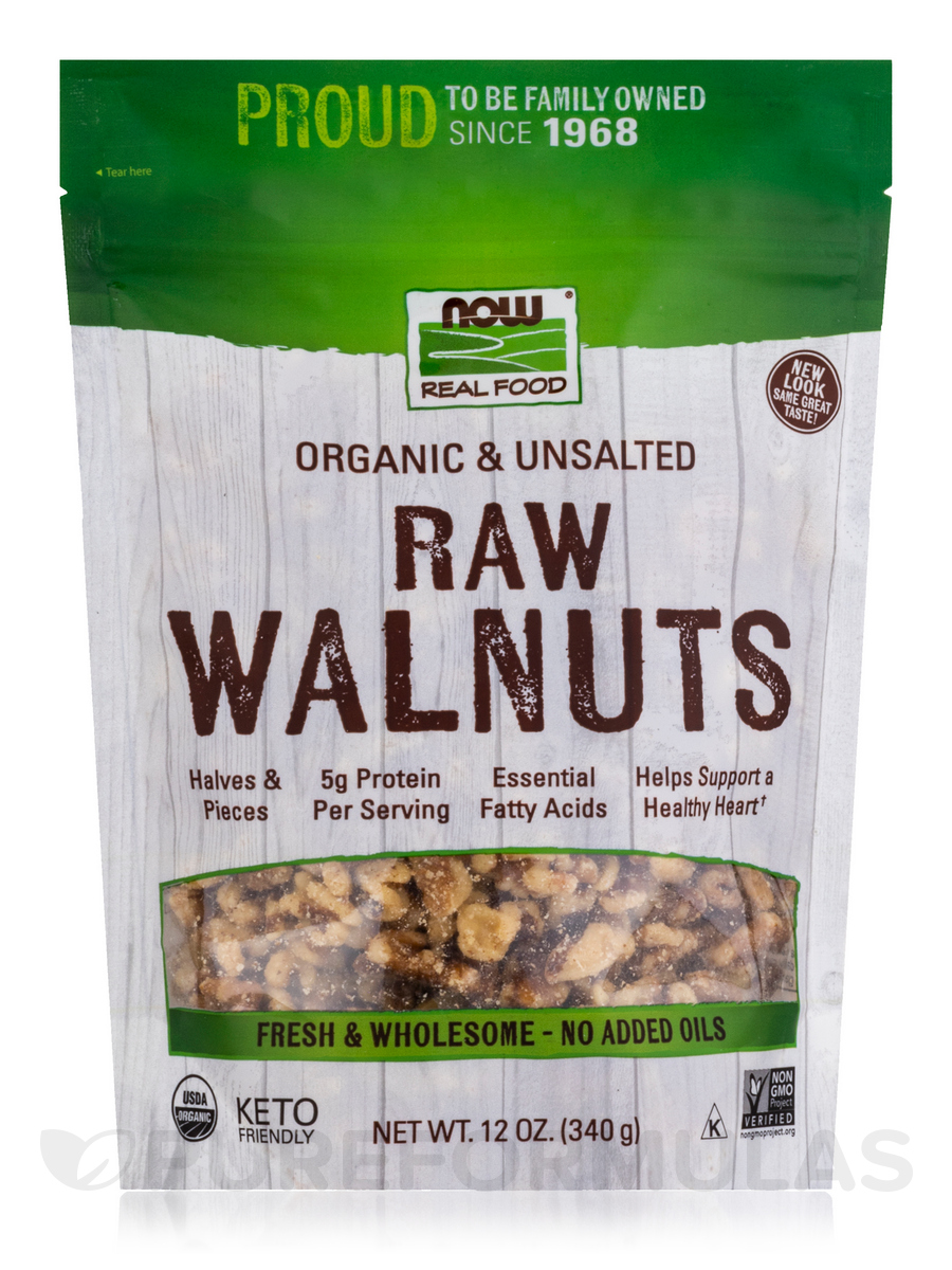 NOW® Real Food - Walnuts (Certified Organic Raw) - 12 oz (340 Grams)