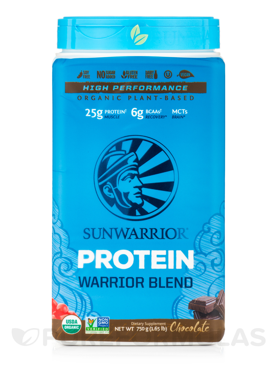 Warrior Blend (Plant-Based Organic Protein, Chocolate Flavor) - 1.65 lb (750 Grams)