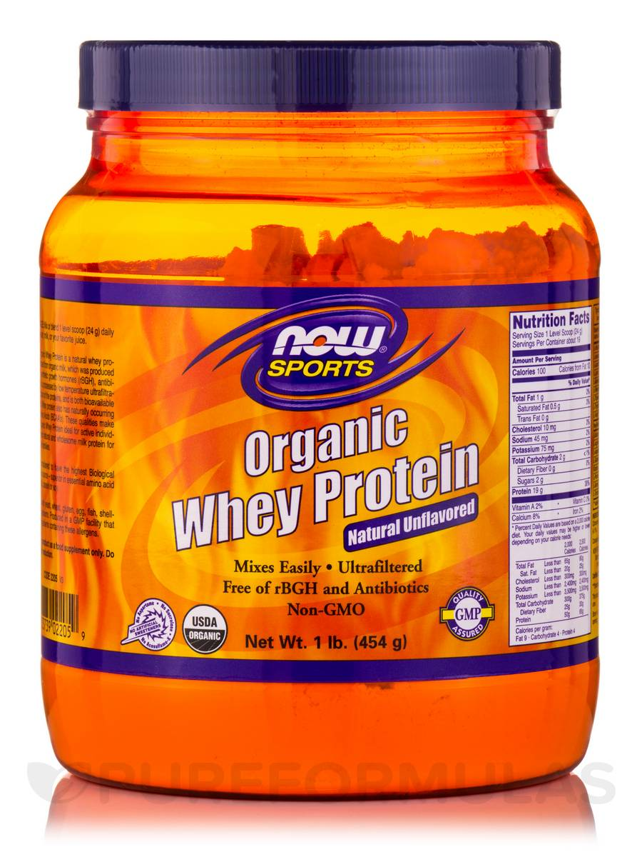 NOW® Sports - Whey Protein (Natural - Unflavored) - 1 lb (454 Grams)