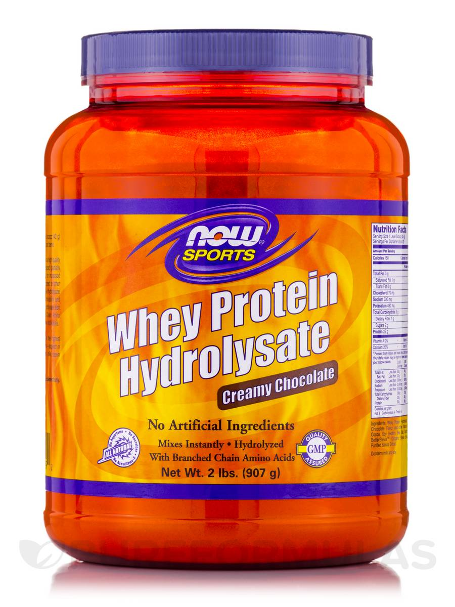 NOW® Sports - Whey Protein Hydrolysate Creamy Chocolate - 2 lbs (907 Grams)