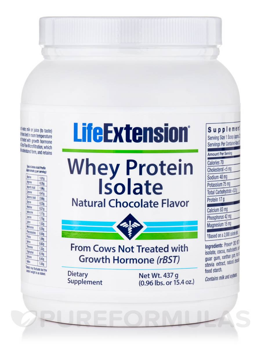 Whey Protein Isolate Natural Chocolate Flavor - 15.4 oz (437 Grams)