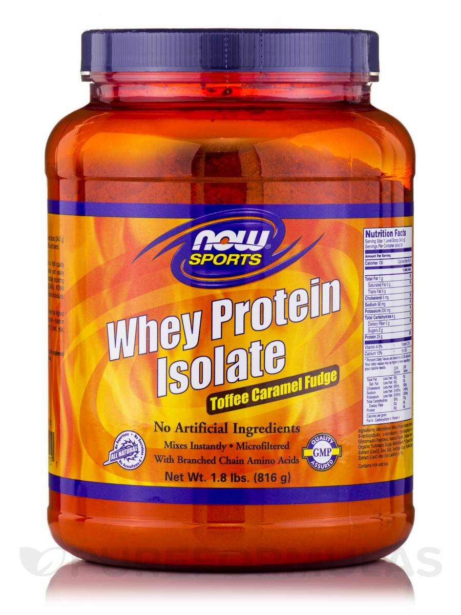 NOW® Sports - Whey Protein Isolate, Toffee Caramel Fudge Flavor - 1.8 lbs (816 Grams)