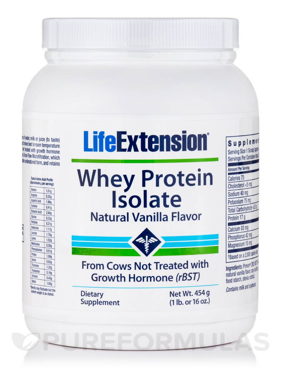 Whey Protein Isolate Natural Vanilla Flavor - 16 oz (454 Grams)