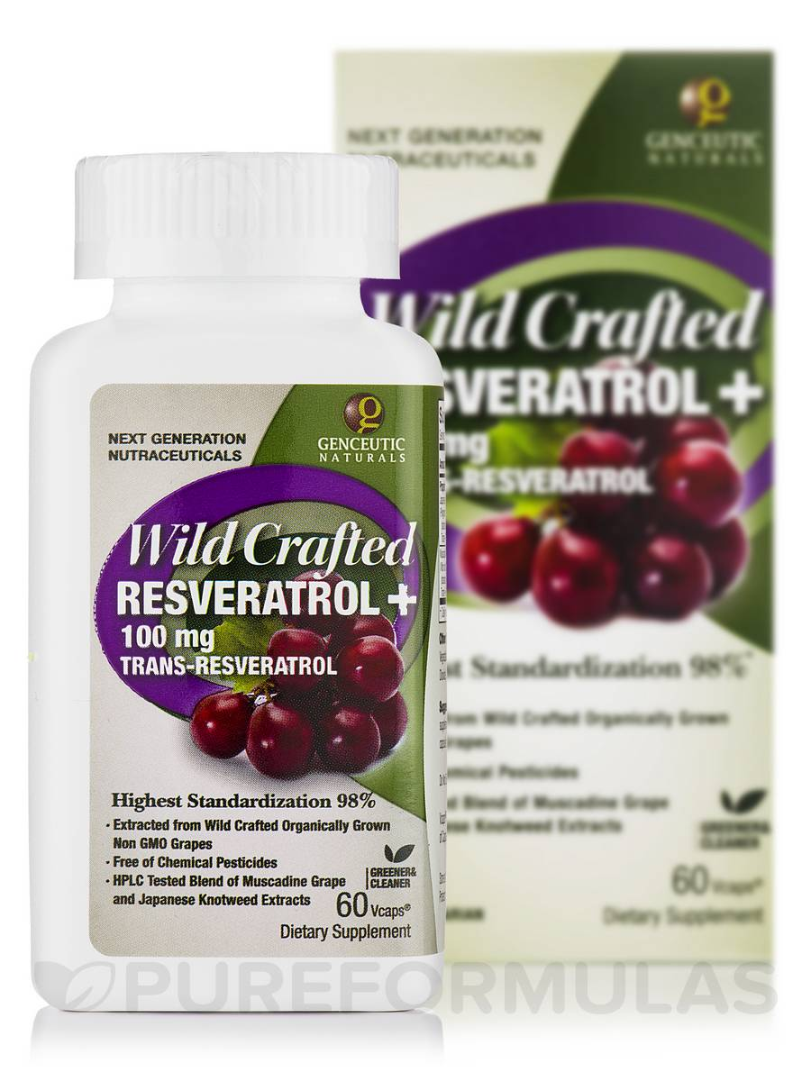 Wild Crafted Resveratrol + 100 mg - 60 Vegetarian Capsules