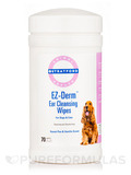 EZ-Derm™ Ear Cleansing Wipes for Dogs & Cats, Sweet Pea & Vanilla - 70 Wipes (5'' x 6'')