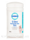 EZ-Derm™ Facial & Tear Stain Wipes for Dogs & Cats, Fragrance-Free - 70 Wipes (5'' x 6'')