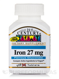 Iron 27 mg (Ferrous Gluconate) 110 Tablets
