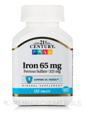 Iron 65 mg (Ferrous Sulfate 325 mg) 120 Tablets