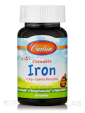 Kid's Chewable Iron 15 mg, Natural Strawberry Flavor - 60 Tablets