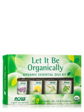 Let It Be Organically, Organic Essential Oils Kit - Box of 4 Bottles (1/3 fl. oz / 10 ml each)