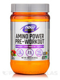 NOW® Sports - Amino Power Pre Workout Powder, Natural Raspberry Flavor - 21.16 oz (600 Grams)
