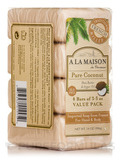 Pure Coconut Soap Bar (Value Pack) - 4 Bars (3.5 oz Each)