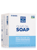 Pure Olive Oil Bar Soap (Fragrance-Free) - 3 Bars (4 oz / 115 Grams each)