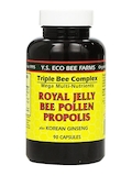 Triple Bee Complex Mega Multi-Nutrients - Royal Jelly, Bee Pollen, Propolis plus Korean Ginseng - 90