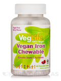 Vegan Iron Chewable, Sugar-Free Berry Flavor - 60 Chewable Tablets