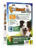 VetGuard Plus for Medium Dogs (16-33 lbs) - 4 Applicators (.05 fl. oz / 1.5 ml Each) (.20 fl. oz)