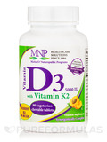 Vitamin D3 (5000 IU) with Vitamin K2, Natural Apricot Flavor - 90 Chewable Tablets