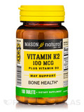 Vitamin K2 100 mcg plus D3 - 100 Tablets