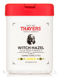 Witch Hazel Toning Towelettes with Aloe Vera, Lemon - 30 Towelettes