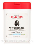 Witch Hazel Toning Towelettes with Aloe Vera, Unscented - 30 Towelettes