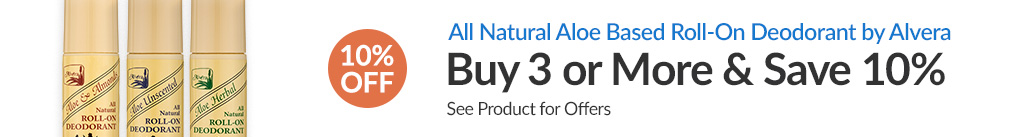 ALL NATURAL ALOE BASED ROLL_ON DEODORANT BY ALVERA: BUY 3 & SAVE 10% - Discount Applied At Checkout