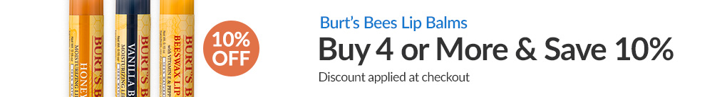 BURT'S BEES LIP BALMS: BUY 4 & SAVE 10% - Discount Applied At Checkout