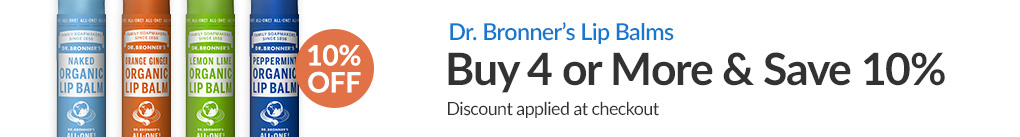 DR. BRONNER'S LIP BALMS: BUY 4 & SAVE 10% - Discount Applied At Checkout