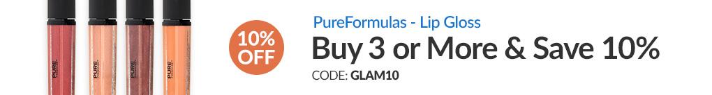 LIP GLOSS BY PUREFORMULAS: BUY 3 & SAVE 10% - CODE: GLAM10