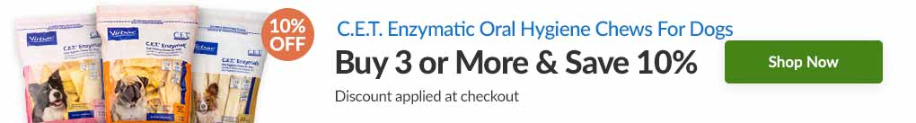C.E.T. ENZYMATIC ORAL HYGIENE CHEWS FOR DOGS: BUY 3 & SAVE 10% - Discount Applied At Checkout