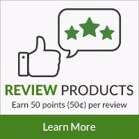 Review Products - Earn 50 points (50¢) per review