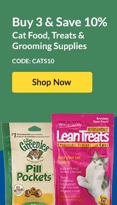 Buy 3 & Save 10% Cat Food, Treats & Grooming Supplies - Code: CATS10