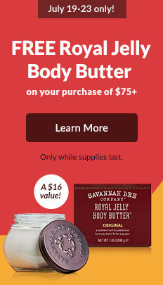 July 19-23 only! FREE Royal Jelly Body Butter on your purchase of $75+. A $16 value! Code: SUMMERGIFT. Only while supplies last. LEARN MORE!
