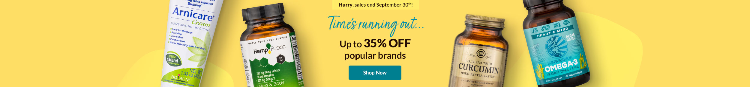 Hurry! Sales ends September 30th! Time's running out... Up to 35% OFF popular brands. SHOP NOW!