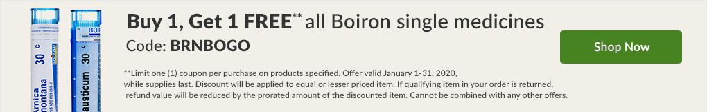 Buy 1, Get 1 FREE all Boiron Single Medicines. Code: BRNBOGO - SHOP NOW!