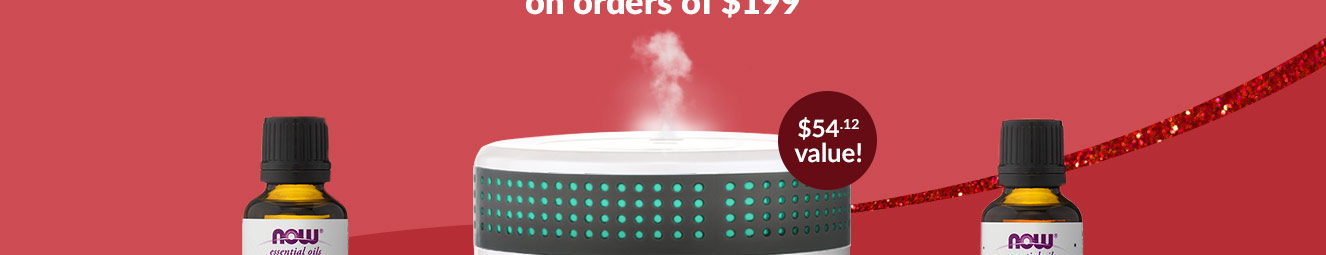 Free NOW essential oil diffuser & choice of essential oil blend on orders over $199