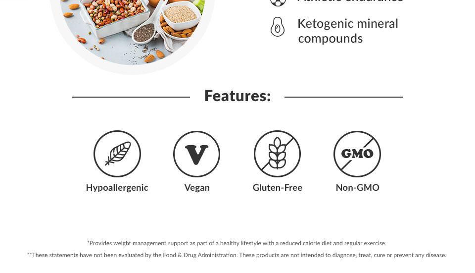 Hypoallergenic, Vegan, Gluten-Free, Non-GMO