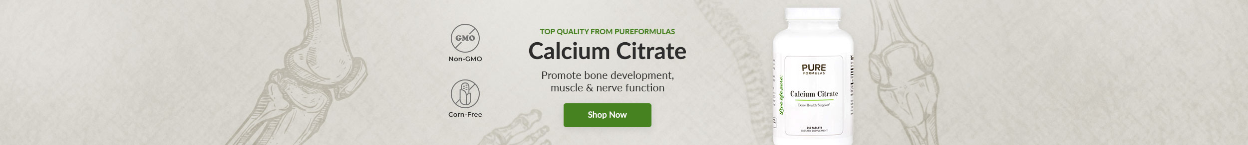 Top Quality from PureFormulas: Calcium Citrate - Promote bone development, muscle & nerve function