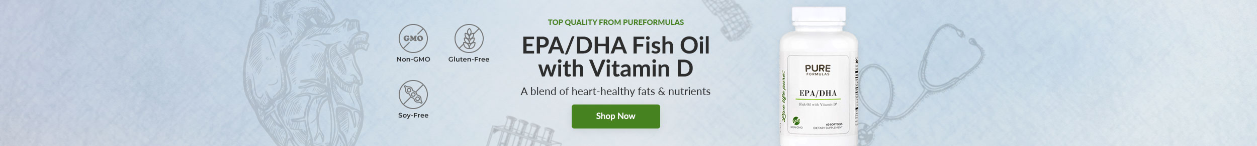 Top Quality from PureFormulas: EPA/DHA Fish Oil with Vitamin D - A blend of heart-healthy fats & nutrients