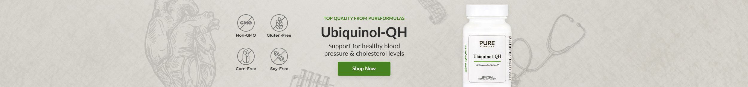 Top Quality from PureFormulas: Ubiquinol-QH - Support for healthy blood pressure & cholesterol levels