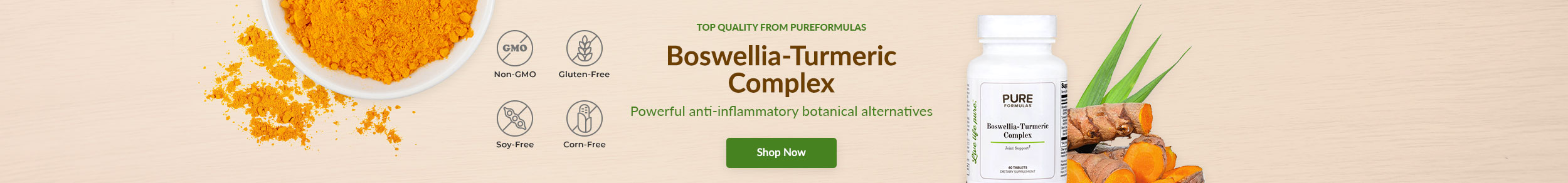 Top Quality from PureFormulas: Boswellia-Turmeric Complex - Powerful anti-inflammatory botanical alternatives